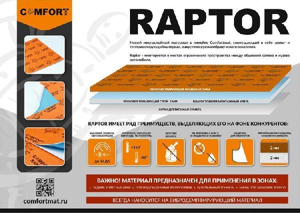 Шумо-тепло изоляционный материал Comfort Raptor