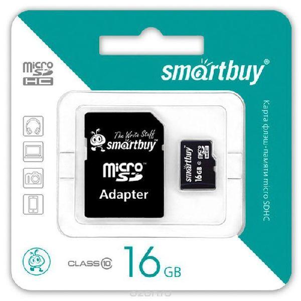Карта памяти Smartbuy MicroSDHC 16Gb Class 10 (с адаптером SD)
