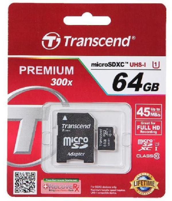фото: Transcend MicroSD 64Gb Class 10 UHS-I