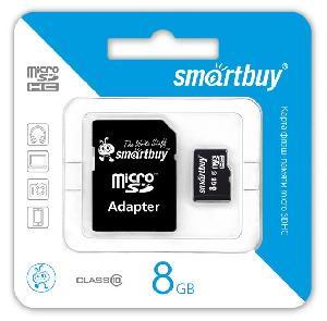 Карта памяти Smartbuy MicroSDHC 8Gb Class 10 (с адаптером SD)