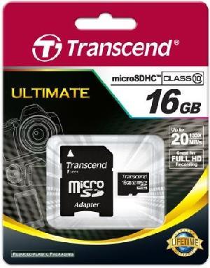 Карта памяти Transcend MicroSD 16Gb (SD adapter ) TS16GUSDHC10