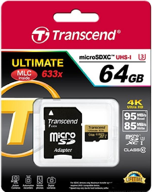 Карта памяти Transcend MicroSD+адаптер 64Gb, Class 10 UHS-I U3M